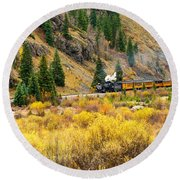 Steam Train 5 Round Beach Towel