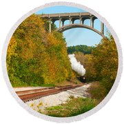 Steam Train Rounding The Curve Round Beach Towel