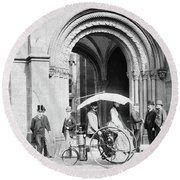 Steam Tricycle, 1888 Round Beach Towel