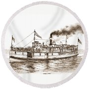 Steamboat Reliance Sepia Round Beach Towel