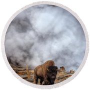 Steamed Bison Round Beach Towel