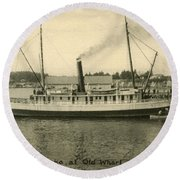Steamer Eureka At Old Whaf Santa Cruz California Circa 1907 Round Beach Towel