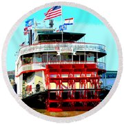 Steamer Natchez Paddleboat Round Beach Towel