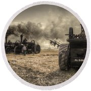 Steaming Giants  Round Beach Towel
