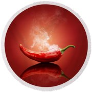 Steaming Hot Chilli Round Beach Towel by Johan Swanepoel