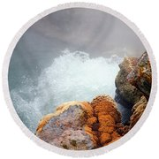 Steaming Hot Spring Round Beach Towel