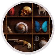 Steampunk - A Box Of Curiosities Round Beach Towel