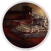 Steampunk - A Crusty Old Typewriter Round Beach Towel