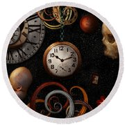 Steampunk - Abstract - The Beginning And End Round Beach Towel by Mike Savad