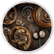 Steampunk - Abstract - Time Is Complicated Round Beach Towel by Mike Savad