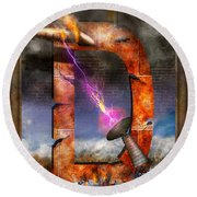 Steampunk - Alphabet - D Is For Death Ray Round Beach Towel