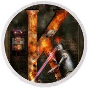 Steampunk - Alphabet - K Is For Killer Robots Round Beach Towel