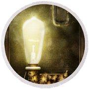 Steampunk - Alphabet - L Is For Light Bulb Round Beach Towel