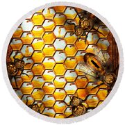 Steampunk - Apiary - The Hive Round Beach Towel