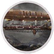 Steampunk - Blimp - Airship Maximus  Round Beach Towel
