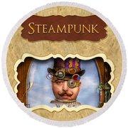 Steampunk Button Round Beach Towel