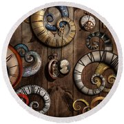 Steampunk - Clock - Time Machine Round Beach Towel by Mike Savad