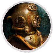 Steampunk - Diving - The Diving Helmet Round Beach Towel