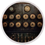 Steampunk - Electrical - Center Of Power Round Beach Towel