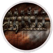 Steampunk - Electrical - Motorized  Round Beach Towel by Mike Savad
