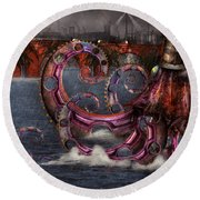 Steampunk - Enteroctopus Magnificus Roboticus Round Beach Towel by Mike Savad