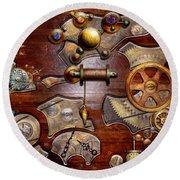 Steampunk - Gears - Reverse Engineering Round Beach Towel by Mike Savad