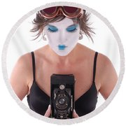 Steampunk Geisha Photographer II Round Beach Towel