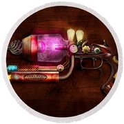 Steampunk - Gun -the Neuralizer Round Beach Towel by Mike Savad