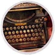 Steampunk - Just An Ordinary Typewriter  Round Beach Towel