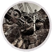 Steampunk Land Boring Machine At Disneysea Black And White Round Beach Towel