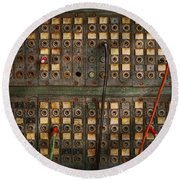 Steampunk - Phones - The Old Switch Board Round Beach Towel by Mike Savad