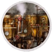 Steampunk - Plumbing - Distilation Apparatus  Round Beach Towel