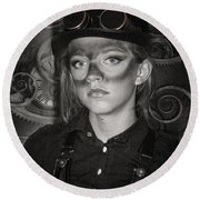 Steampunk Princess Round Beach Towel