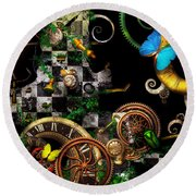 Steampunk - Surreal - Mind Games Round Beach Towel