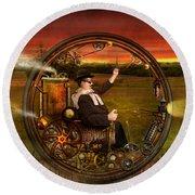 Steampunk - The Gentleman's Monowheel Round Beach Towel by Mike Savad