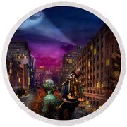 Steampunk - The Great Mustachio Round Beach Towel by Mike Savad