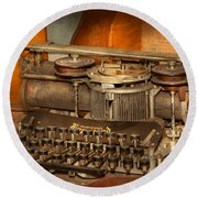 Steampunk - The History Of Typing Round Beach Towel by Mike Savad
