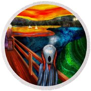 Steampunk - The Scream Round Beach Towel by Mike Savad
