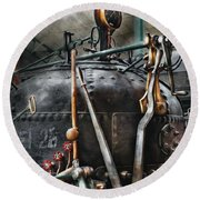 Steampunk - The Steam Engine Round Beach Towel