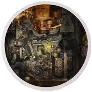 Steampunk - The Turret Computer  Round Beach Towel by Mike Savad