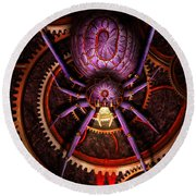 Steampunk - The Webs We Weave Round Beach Towel by Mike Savad