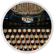 Steampunk - Typewriter -the Royal Round Beach Towel by Paul Ward