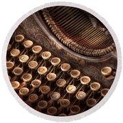 Steampunk - Typewriter - Too Tuckered To Type Round Beach Towel