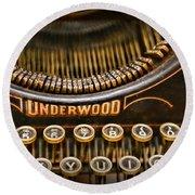 Steampunk - Typewriter - Underwood Round Beach Towel