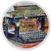 Steampunk - Vintage Typewriter Round Beach Towel by Susan Savad