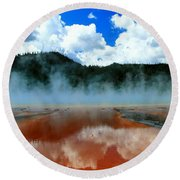 Steams And Reflections Round Beach Towel