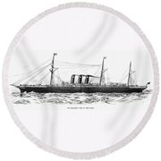 Steamship - City Of New York Round Beach Towel
