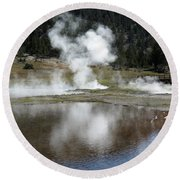 Steamy Reflections Round Beach Towel
