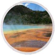 Steamy Yellowstone Round Beach Towel