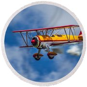 Stearman Biplane Round Beach Towel